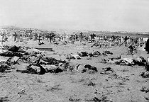 American intervention to Mexique (1914). Corpses of mexicans stretched out near a cemetery after the battlefield. © Albert Harlingue/Roger-Viollet