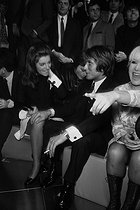 Sheila, Jacques Dutronc, Claude François and Sophie Daumier, French artists, in the studios of RTL during a radio program hosted by Philippe Bouvard and Anne-Marie Peysson. 1968. © Noa / Roger-Viollet