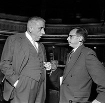 "French composers Francis Poulenc and Marcel Landowski, attending a rehearsal of ""Bluebeard's Castle"" by Béla Bartok. Paris, Opéra-comique, Octobr 1959. © Studio Lipnitzki/Roger-Viollet"