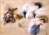 """Eugène Delacroix (1798-1863). Sketch of half-naked women and Africans for """"La Mort de Sardanapale"""" (The death of Sardanapalus). Pastel on graphite, red chalk, pencil, chalk on paper, 1827. Paris, musée Delacroix. © Roger-Viollet"""