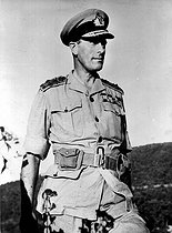 World War II. Lord Louis Mountbatten, British Admiral (Commander-in-chief of the Allied forces of the Southeast Asia) on the front of Arakan (Burma), March 1944.  © Roger-Viollet