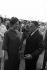 Visit of President de Gaulle in Brazil. Yvonne de Gaulle (1900-1979), wife of Charles de Gaulle (1890-1970), President of the French Republic, greeted by Humberto Castelo Branco (1900-1967), President of Brazil, October 1964.  © Roger-Viollet