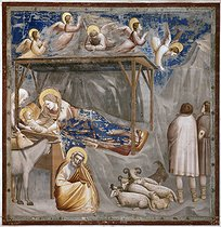 Ambrogio Bondone Giotto (1266-1336).Nativity, the birth of Jesus. Fresco from the Scrovegni chapel, in the former Roman arena in Padua (Italy). © Roger-Viollet