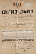 World War II. Notice about the requisition of cars. France, on September 7, 1939. © Roger-Viollet