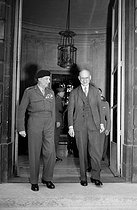 Robert Schuman (1886-1963), French Prime Minister, greeting Bernard Montgomery (1887-1976), British Field Marshal. Paris, Hotel Matignon, on July 9, 1948. © Roger-Viollet