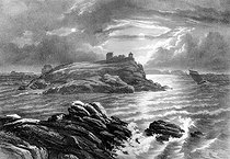 Grave of François-René de Chateaubriand (1768-1848), French writer and politician, on the Grand-Bé rock in Saint-Malo (France). Lithograph by Charpentier after F. Benoist. French National Library. © Roger-Viollet
