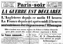"World War II. Front page of the newspaper ""Paris-soir"". September 4, 1939. France and England declaring war on Germany.  © Roger-Viollet"
