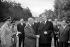 General De Gaulle greeting Dwight David Eisenhower, American statesman, at the Rambouillet castle. On the right, Michel Debré, on September 4, 1959.   © Bernard Lipnitzki / Roger-Viollet
