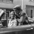 "Shooting of ""A bout de souffle"",  film by Jean-Luc Godard (1960). Jean Seberg and Jean-Paul Belmondo. France, September 1959. © Alain Adler / Roger-Viollet"