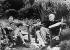 André Gide (1869-1951), écrivain français, et Jean-Paul Sartre (1905-1980), écrivain et philosophe français. Cabri (Alpes-Maritimes), août 1950. © Albert Harlingue / Collection Harlingue / Roger-Viollet