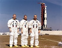 Mission Apollo 9. Equipage : Russell L. Schweickart, James A. McDivitt, David R. Scott. Kennedy-Space-Center, Cap Canaveral, février 1969. © Ullstein Bild / Roger-Viollet