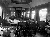World War I. Inside the train car (#2419 of the Orient Express) where the armistice of November 11 was signed, in Rethondes.   © Roger-Viollet