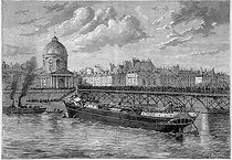 "The ""Frigorifique"", boat invented by Charles Tellier (1828-1913), French engineer, run aground against the pllars of the pont des Arts. Paris, 1879. Engraving after a drawing by Jules Després (19th century). © Roger-Viollet"