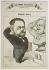 """André Gill (André Gosset de Guines, dit - 1840-1885). """"Les Hommes aujourd'hui - Emile Zola saluant le buste de Balzac"""". Estampe. Paris, Maison de Balzac. © Maison de Balzac / Roger-Viollet"""
