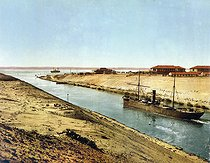 Suez Canal. Entrance of the Bitter Lake. Egypt, circa 1890-1900. © Roger-Viollet