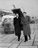 Félix Gaillard (1919-1970) et Maurice Faure (1922-2014), hommes politiques franaçsi, venant accueillir Harold Macmillan (1894-1986), Premier ministre anglais. Orly, aéroport de Paris, 25 novembre 1957. © Roger-Viollet