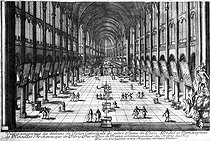 François-Antoine Aveline (born in 1718). Nave of the Notre-Dame de Paris Cathedral during the 17th century. Engraving. Paris, French National Library. © Roger-Viollet