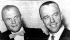 """Conférence de presse de John Glenn (1921-2016) et Alan Shepard (1923-1998), astronautes américains et membres du groupe des """"Mercury Seven"""", les sept astronautes du programme Mercury sélectionnés par la NASA le 9 avril 1959. Etats-Unis, 22 février 1961. © TopFoto / Roger-Viollet"""