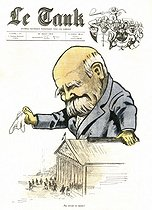 "Georges Clemenceau (1841-1929), French statesman. Satirical cartoon from ""Le Tank"", on August 30, 1919. © Roger-Viollet"