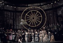 """""""Faust"""" by Charles Gounod. DIrection : Jorge Lavelli. Conductor : Charles Mackerras. Stage design and costumes : Max Bignens. Nicolaï Gedda and Mirella Freni. Opéra de Paris, April 1976. © Colette Masson / Roger-Viollet"""