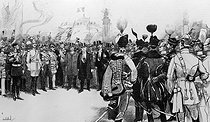 1900 World Fair in Paris. Emile Loubet (1838-1929), President of the French Republic, with personalities from the government and ambassadors, the day of the inauguration at the pont Alexandre-III. Paris, on April 14, 1900. Drawing by Charles Morel (1861-1908). © Roger-Viollet