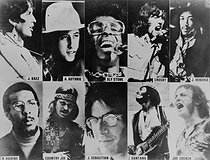 Artists who took part in the Woodstock Festival in August 1969: Joan Baez, W. Guthrie, Sly Stone, Crosby, Jimi Hendrix, R. Havens, Country Joe, J. Sebastian, Santana and Joe Cocker.     © Roger-Viollet