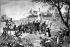 Christopher Colombus (1450/1451-1506), Genoese navigator, landing to Guanahani (island San Salvador). October 12, 1492. © Roger-Viollet