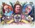 L'empereur Guillaume II d'Allemagne (Wilhelm II, 1859-1941) et ses alliés, l'empereur François-Joseph Ier d'Autriche (1830-1916) et le roi Humbert Ier d'Italie (1844-1900). Allemagne, vers 1899. Carte postale coloriée. © Bilderwelt / Roger-Viollet