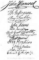 Facsimile of some signatures of the act of independence of the United States of America.  From top to bottom:  John Hancock (1737-1793), Thomas Jefferson (1743-1826), Benjamin Franklin (1706-1790), John Adams (1735-1826), Livingstone, X, Richard Henry Lee (1732-1794), Robert Morris (1734-1806), Stephen Hopkins (1707-1785), John Morton, X and Edward Rutledge (1749-1800).  July 4, 1776. © Roger-Viollet