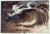 Victor Hugo (1802-1885). The Wave (or My Destiny). Pen-and-ink drawing, brown washing, gouache and vellum paper, 1857. Paris, Maison de Victor Hugo. © Maisons de Victor Hugo / Roger-Viollet