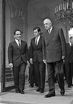 President of the French Republic, Charles De Gaulle greeting King Hussein of Jordan. Paris, Elysée Palace, on July 4, 1967. © Roger-Viollet