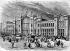 Paris Xème arr.. La nouvelle gare du Nord (Hittorf, architecte, 1863). Gravure de Cosson Smeeton d'après un dessin d'Emile Théodore Thérond.     © Roger-Viollet