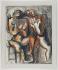 """Ossip Zadkine (1890-1967). """"Deux femmes"""". Pastel gras, grattage, crayon noir et stylo feutre sur papier satiné, s.b.g. : OZ. Paris, musée Zadkine.  © Musée Zadkine/Roger-Viollet"""