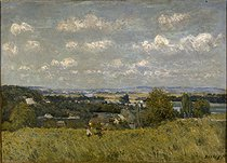 """Alfred Sisley (1839-1899). """"View of the river Seine from the heights of Louveciennes"""", 1875. Rennes museum. © Roger-Viollet"""