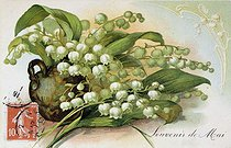 "Lily of the valley, ""Memory of may"". Postcard of the May Ist. © Roger-Viollet"