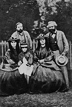 The German social theorists Friedrich Engels (1820-1895) and Karl Marx (1818-1883), with the daughters of Karl Marx, Jenny, Eleanor and Laura, May 1864. © Roger-Viollet