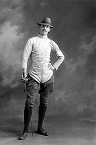 World Fencing Championships. Prégelant, amateur winner of the Sword part in the Tuileries Garden. Paris, May 22-24, 1913. © Maurice-Louis Branger / Roger-Viollet