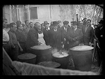 """Spanish Civil war (1939-1936). """"La Retirada"""". Albert Sarraut (1872-1962), French Minister of the Interior, and Marc Rucart (1893-1964), French Minister of Health, visiting Spanish refugees. Banyuls (France), on January 31 - February 1st, 1939. Photograph from the Excelsior newspaper. © Excelsior - L'Equipe / Roger-Viollet"""