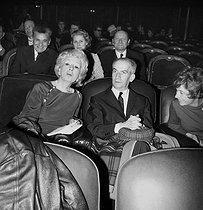 Mrs P. Derval, Louis de Funès and his wife. Paris, Les Folies-Bergère, february 1968. © Studio Lipnitzki/Roger-Viollet