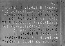 Page of script in Braille characters. © Jacques Boyer/Roger-Viollet