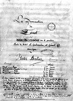 """Title of the manuscript of """" Faust's damnation """" of Hector Berlioz ( 1846 ), according to Goethe's """" Faust """". Paris, Library of the National music Conservatoire. © Albert Harlingue / Roger-Viollet"""