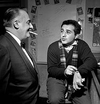 Bruno Coquatrix (1910-1979), manager of the Olympia and Richard Anthony (1938-2015), French singer. Paris, Olympia, December 1961. © Studio Lipnitzki / Roger-Viollet