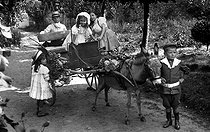 Children playing with a donkey-drawn cart. France, 1910. © Neurdein / Roger-Viollet
