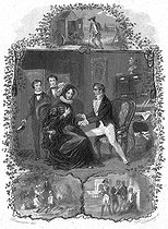 """François-René de Chateaubriand, ambassador in London, greeting Lady Sulton, widow, with her two sons, in 1822. He had fallen in love with her in 1795-1796, when her name was Charlotte Ives. Illustration for """"Mémoires d'outre-tombe"""" by François-René de Chateaubriand, Book X, chapter 11. Engraving by F. Delannoy after R. Demoraine. © Roger-Viollet"""