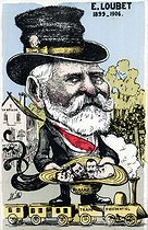 Satirical cartoon of Emile Loubet (1838-1929), President of the French Republic. Humorous postcard. © Roger-Viollet