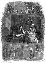 """François-René de Chateaubriand, writing in a tavern at Tain-L'Ermitage, during his trip in the south of France in 1802. Illustration for """"Mémoires d'outre-tombe"""" by François-René de Chateaubriand, Book IV, chapter 2. Engraving by F. Delannoy after R. Demoraine. © Roger-Viollet"""