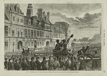 A. Lamy. Paris Commune. Proclamation of the Commune on the place de l'Hôtel de ville by the members of the government (Comité central de la garde nationale). Engraving. March-April 1871. Paris, bibliothèque de l'Hôtel de Ville.  © BHdV/Roger-Viollet