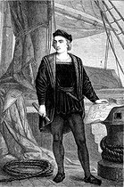 Christopher Columbus (1450-51-1506), Genoese navigator, young. Engraving, 19th century. © Roger-Viollet