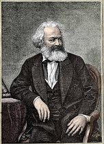 Karl Marx (1818-1883), German social theorist and revolutionary. Engraving. French National Library. Colourized photo. © Roger-Viollet