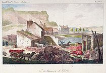 Moléon (manager of annals industry). View of Mr Chollet's construction site at the Buttes-Chaumont. Colourized lithograph, 1827. Paris, musée Carnavalet. © Musée Carnavalet/Roger-Viollet